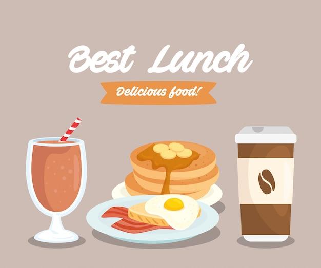 美味しい食べ物のポスター、最高のランチ