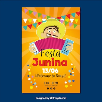 Poster of festa junina with man playing