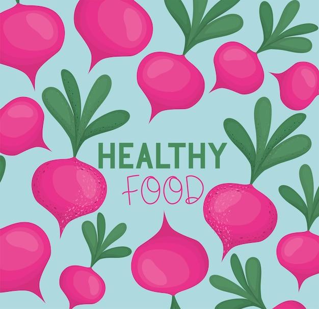 비트 뿌리와 건강 식품의 포스터