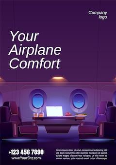 Плакат роскошного интерьера частного самолета с креслами, столом с ноутбуком, едой и напитками