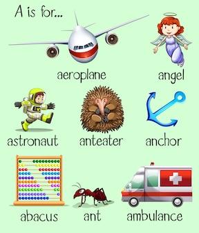 多くの単語のポスターは文字aで始まります