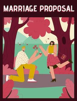 Плакат с концепцией предложения руки и сердца