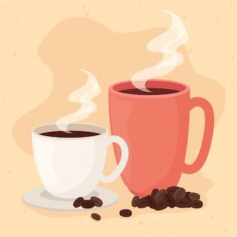 Плакат с кружкой и чашкой кофе иллюстрации дизайн