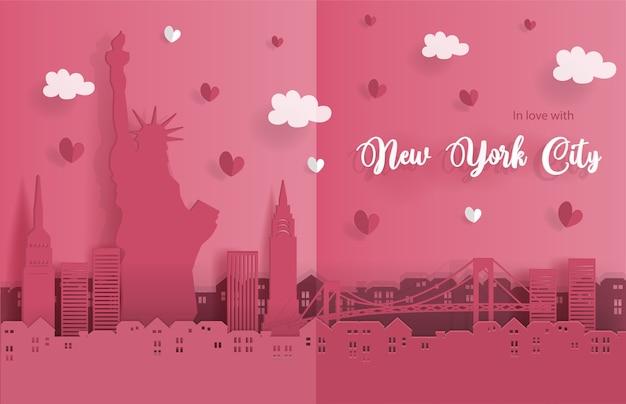 종이 접기 스타일에서 뉴욕시의 포스터