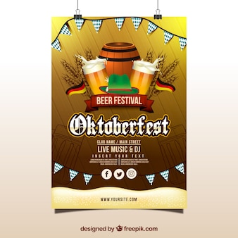 Poster of oktoberfest with flags, beer barrel and mugs