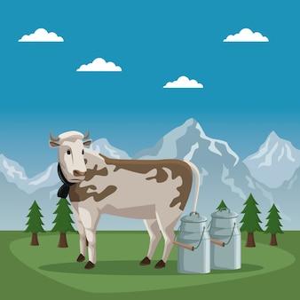 牛の動物と牛乳の金属瓶とスイスのポスター