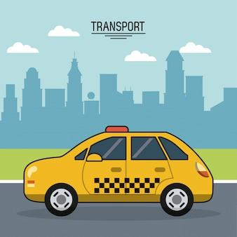 都市の郊外のタクシーでの輸送のポスター