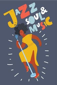 Плакат женщины с микрофоном