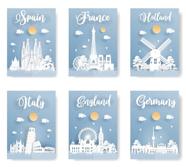 ヨーロッパの世界的に有名なランドマークのポスター。