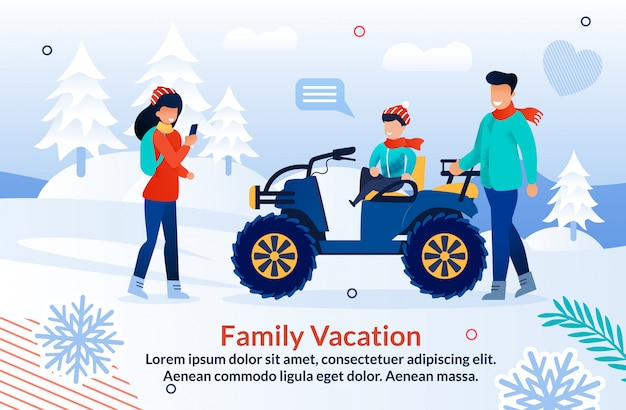 Плакат акция «радостное зимнее приключение в горах»