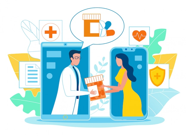 Poster online pharmacist consultation cartoon.