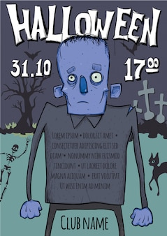 Плакат или флаер для хэллоуина. зомби гуляют среди могил на кладбище.