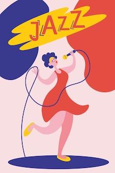 Шаблон плаката или флаера для выступления джазовой музыки с певицей jazz festival