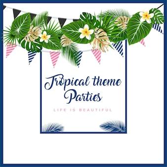 ヤシの葉の花の旗が付いている熱帯をテーマにした花輪のポスターまたは招待状