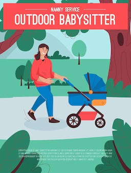 Poster of outdoor babysitter service concept
