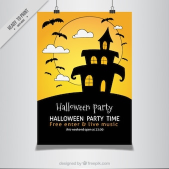 Poster party halloween of  hand-drawn haunted house