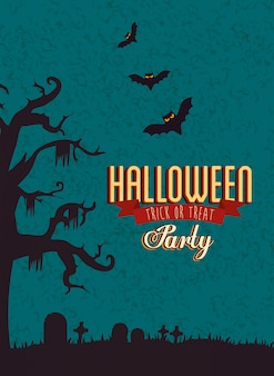 Poster of party halloween with bats flying