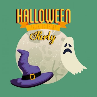 Poster of party halloween with ghost and hat witch