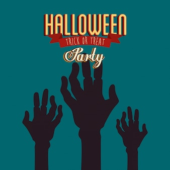 Poster of party halloween with hands zombie