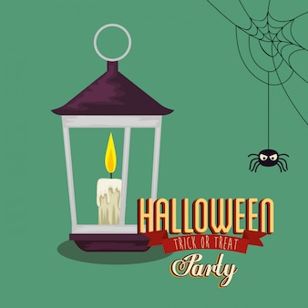 Poster of party halloween with lantern and spider