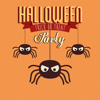 Poster of party halloween with spiders insects