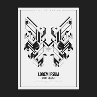Плакат / шаблон дизайна печати с симметричным абстрактным элементом на белом фоне. полезно для обложек книг и журналов.