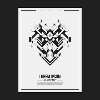Poster/print design template with symmetric abstract element on white background. useful for book and magazine covers.