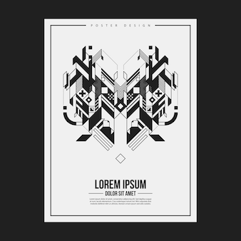 Poster/print design template with symmetric abstract element on white background