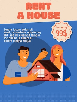 Poster of rent a house concept