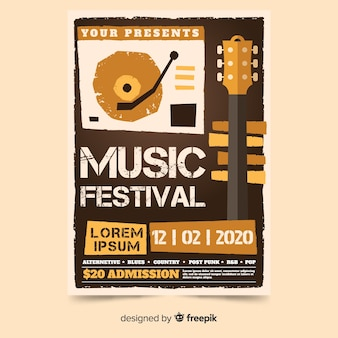 Poster retro music template