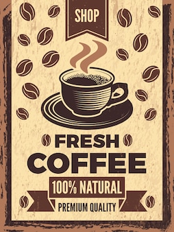 Poster in retro style for coffee house. coffee banner vintage, card shop with cup drink.  illustration