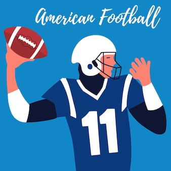 Poster rugby player makes throw quarterback american football rugby ball