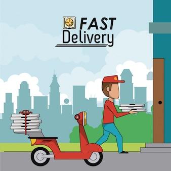 赤いスクーターでピザを届けている男のポスターの風景の街風景