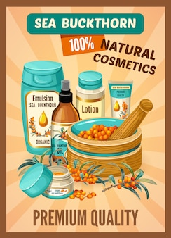 Poster sea buckthorn and cosmetic collection.