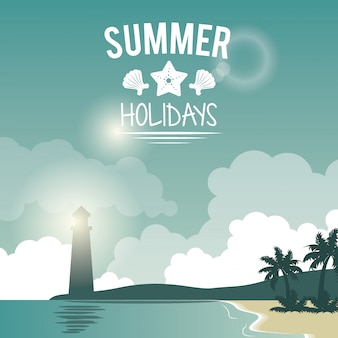Poster seaside with lighthouse and logo summer holidays