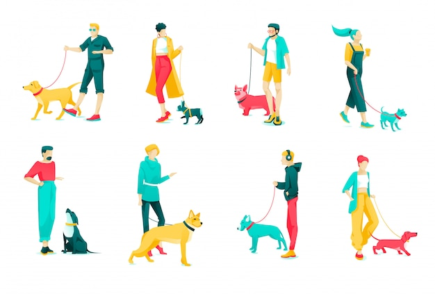 Poster set character dog owners, cartoon flat