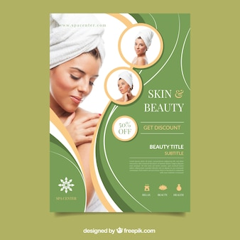 Poster for a spa center with a photo Premium Vector