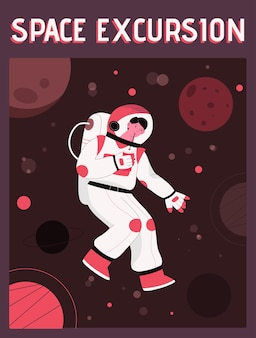 Poster of space excursion concept. man in spacesuit drinks soda and flies in zero gravity in outer space.