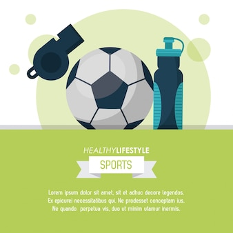 Poster of sports with soccer ball and whistle and water bottle
