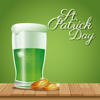 Poster st patrick day glass beer coins on wooden green background