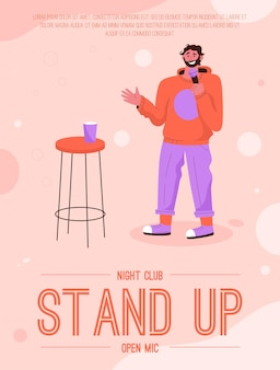 Poster of stand up open mic at night club concept. aspiring comedian performing on stage.