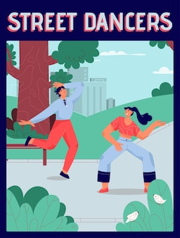 Poster of street dancers concept. men and women dancing together in different styles at city park.