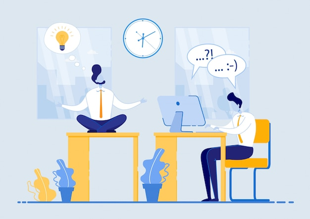 Плакат успешная идея, используя рабочее время flat. человек медитирует, сидя за столом в офисе, рядом с парнем усердно работает на компьютере. сотрудник эффективно тратит время и не теряет его.