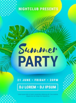 Плакат летняя пляжная вечеринка. шаблон флаер приглашение с пальмовых листьев и абстрактные неоновые формы жидкости.