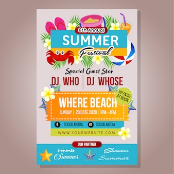 Poster summer festival template with beach play