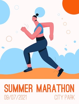 Poster of summer marathon at city park concept