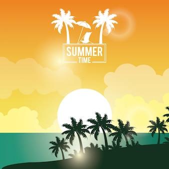 Плакат закат пейзаж пальм на пляже с логотипом летнее время
