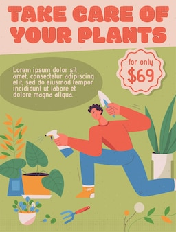 Poster of take care of your plant concept.