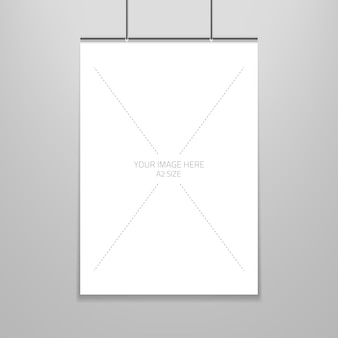 Poster template of a blank paper sheet in frame