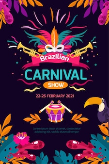 Шаблон плаката бразильский карнавал плоский дизайн